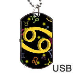 Cancer Floating Zodiac Sign Dog Tag USB Flash (Two Sides)