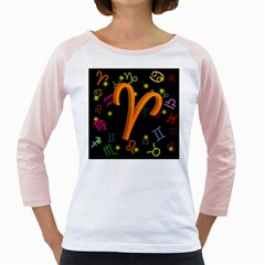 Aries Floating Zodiac Sign Girly Raglans