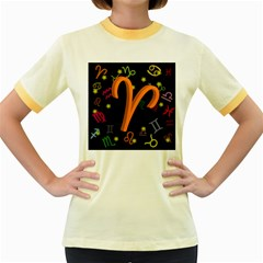Aries Floating Zodiac Sign Women s Fitted Ringer T Shirts