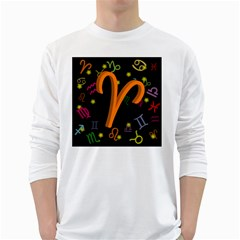 Aries Floating Zodiac Sign White Long Sleeve T Shirts