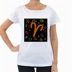 Aries Floating Zodiac Sign Women s Loose Fit T Shirt (white)