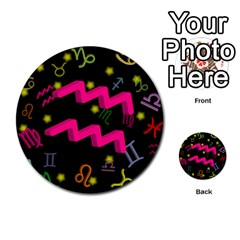 Aquarius Floating Zodiac Sign Multi-purpose Cards (Round)