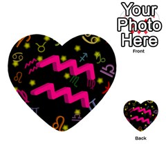 Aquarius Floating Zodiac Sign Multi Purpose Cards (heart)