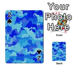 Camouflage Blue Playing Cards 54 Designs