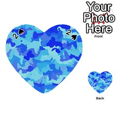 Camouflage Blue Playing Cards 54 (Heart)