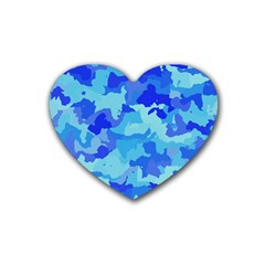Camouflage Blue Rubber Coaster (heart)