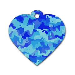 Camouflage Blue Dog Tag Heart (two Sides)