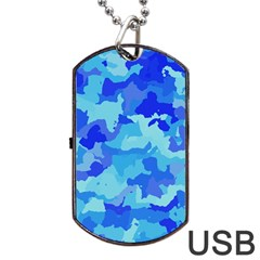 Camouflage Blue Dog Tag USB Flash (One Side)