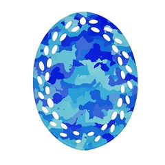 Camouflage Blue Ornament (Oval Filigree)