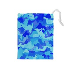 Camouflage Blue Drawstring Pouches (medium)