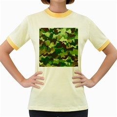 Camouflage Green Women s Fitted Ringer T Shirts