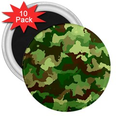 Camouflage Green 3  Magnets (10 Pack)