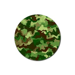 Camouflage Green Rubber Coaster (round)