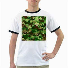 Camouflage Green Ringer T Shirts