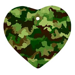 Camouflage Green Heart Ornament (2 Sides)