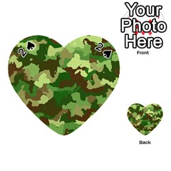 Camouflage Green Playing Cards 54 (heart)