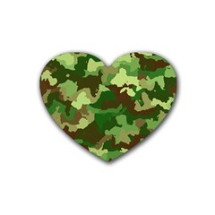 Camouflage Green Rubber Coaster (heart)