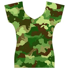 Camouflage Green Women s V-Neck Cap Sleeve Top