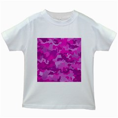 Camouflage Hot Pink Kids White T Shirts