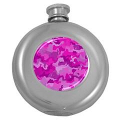 Camouflage Hot Pink Round Hip Flask (5 Oz)