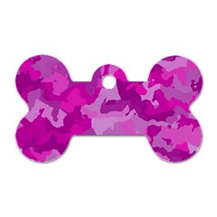 Camouflage Hot Pink Dog Tag Bone (two Sides)