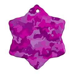 Camouflage Hot Pink Snowflake Ornament (2-Side)