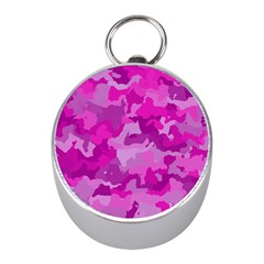 Camouflage Hot Pink Mini Silver Compasses