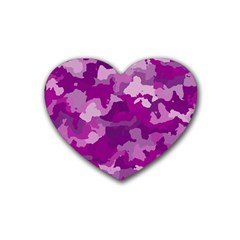 Camouflage Purple Rubber Coaster (heart)