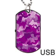 Camouflage Purple Dog Tag Usb Flash (one Side)