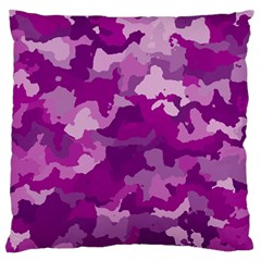 Camouflage Purple Large Flano Cushion Cases (two Sides)