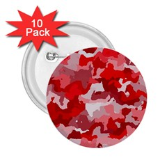 Camouflage Red 2 25  Buttons (10 Pack)