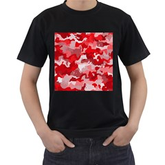 Camouflage Red Men s T Shirt (black) (two Sided)