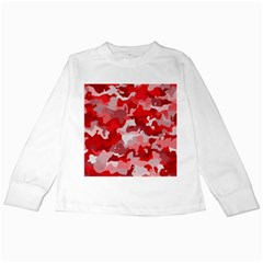 Camouflage Red Kids Long Sleeve T Shirts