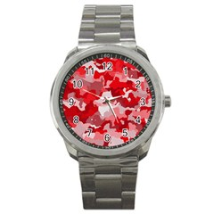 Camouflage Red Sport Metal Watches