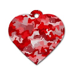 Camouflage Red Dog Tag Heart (two Sides)