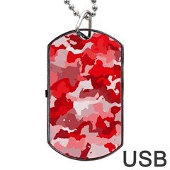 Camouflage Red Dog Tag USB Flash (One Side)