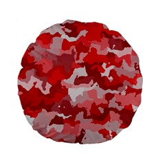 Camouflage Red Standard 15  Premium Flano Round Cushions