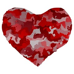Camouflage Red Large 19  Premium Flano Heart Shape Cushions