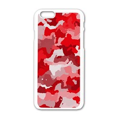 Camouflage Red Apple Iphone 6 White Enamel Case