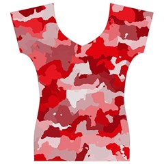 Camouflage Red Women s V-Neck Cap Sleeve Top