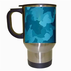 Camouflage Teal Travel Mugs (white)