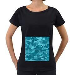 Camouflage Teal Women s Loose-Fit T-Shirt (Black)