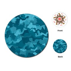 Camouflage Teal Playing Cards (Round)