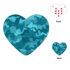 Camouflage Teal Playing Cards (Heart)