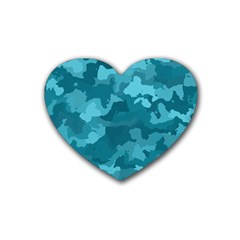 Camouflage Teal Rubber Coaster (heart)