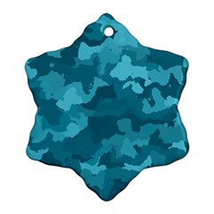 Camouflage Teal Snowflake Ornament (2-Side)