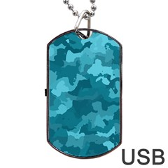 Camouflage Teal Dog Tag USB Flash (Two Sides)