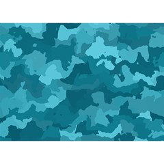 Camouflage Teal Birthday Cake 3d Greeting Card (7x5)