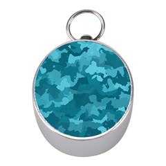 Camouflage Teal Mini Silver Compasses