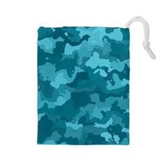 Camouflage Teal Drawstring Pouches (large)